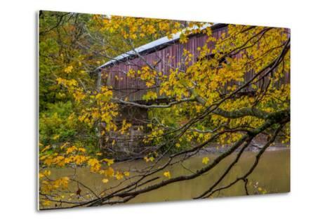 Cox Ford Covered Bridge over Sugar Creek in Parke County, Indiana-Chuck Haney-Metal Print