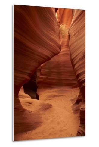 Arizona, Navajo Nation, Eroded Sandstone Formations and Tumbleweed-David Wall-Metal Print