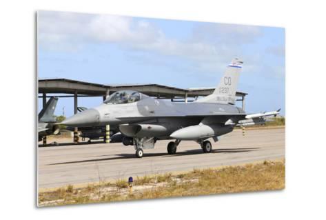 U.S. Air Force F-16C Taxiing at Natal Air Force Base, Brazil-Stocktrek Images-Metal Print