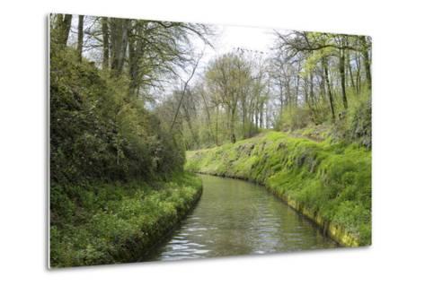 France, Burgundy, Nievre. Lush Banks of the Nivernais Canal-Kevin Oke-Metal Print