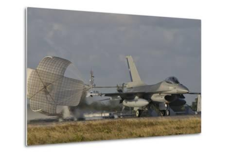 U.S. Air Force F-16 Fighting Falcon with Drag Chute Deployed-Stocktrek Images-Metal Print