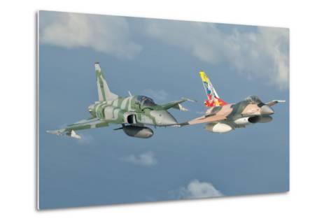 Venezuelan Air Force F-16 and Brazilian Air Force F-5 in Flight over Brazil-Stocktrek Images-Metal Print