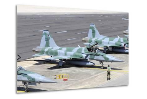 Line-Up of Brazilian Air Force F-5Em at Natal Air Force Base, Brazil-Stocktrek Images-Metal Print