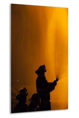 Massachusetts, Cape Ann, Fourth of July Bonfire, Silhouette of Firemen-Walter Bibikow-Metal Print
