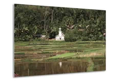Asia, Indonesia, Sulawesi, View of Church and Field-Tony Berg-Metal Print