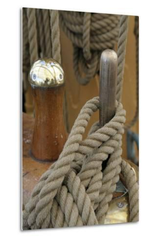 Canada, B.C, Victoria. Rigging Rope around a Peg on the Uscg Eagle-Kevin Oke-Metal Print