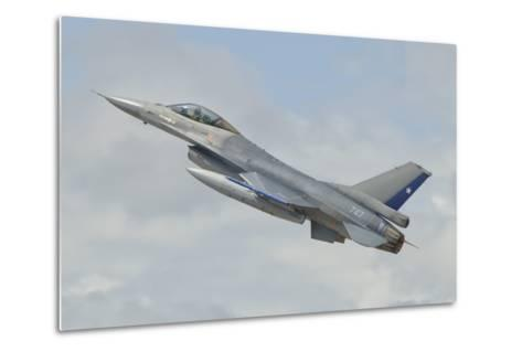 Chilean Air Force F-16 Taking Off from Natal Air Force Base, Brazil-Stocktrek Images-Metal Print