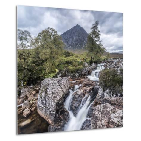UK, Scotland, Highland, Glen Coe, River Coupall, Coupall Falls and Buachaille Etive Mor-Alan Copson-Metal Print