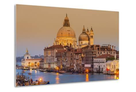 Santa Maria Della Salute Church and Grand Canal at Sunset, Venice, Veneto, Italy-Stefano Politi Markovina-Metal Print