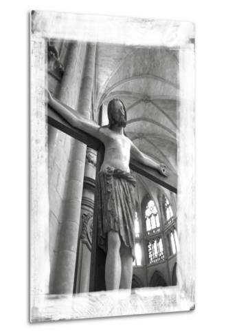 France, Burgundy, Nievre, Nevers. Crucifix at Nevers Cathedral-Kevin Oke-Metal Print
