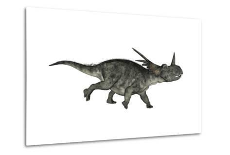 Styracosaurus Dinosaur Running-Stocktrek Images-Metal Print