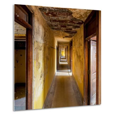 Hallway of an Abandoned Building in Butte, Montana-James White-Metal Print