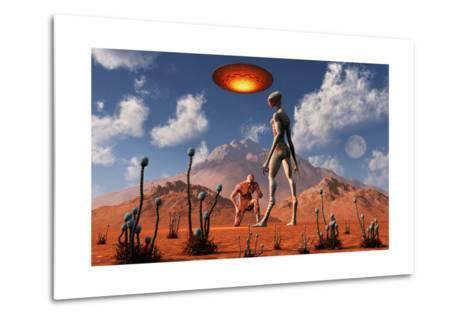 Adam Meeting an Alien Reptoid Being-Stocktrek Images-Metal Print