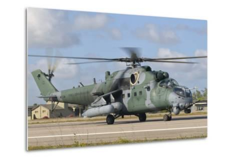 Brazilian Air Force Mi-35 at Natal Air Force Base, Brazil-Stocktrek Images-Metal Print