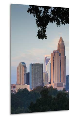 North Carolina, Charlotte, Elevated View of the City Skyline at Dusk-Walter Bibikow-Metal Print