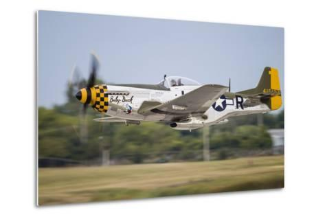 A P-51 Mustang Takes Off from Waukegan, Illinois-Stocktrek Images-Metal Print