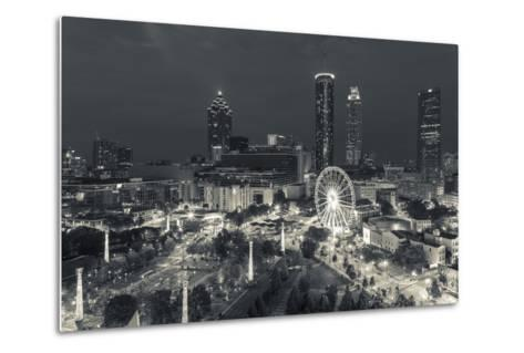 Georgia, Atlanta, Centennial Olympic Park, Elevated City View at Dusk-Walter Bibikow-Metal Print