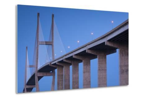 Georgia, Brunswick, Sidney Lanier Bridge, across the Brunswick River-Walter Bibikow-Metal Print