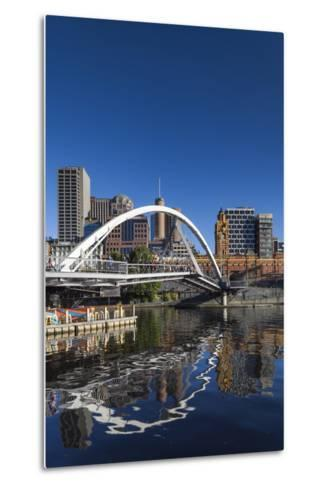 Australia, Victoria, Melbourne, Yarra River Footbridge and Skyline-Walter Bibikow-Metal Print