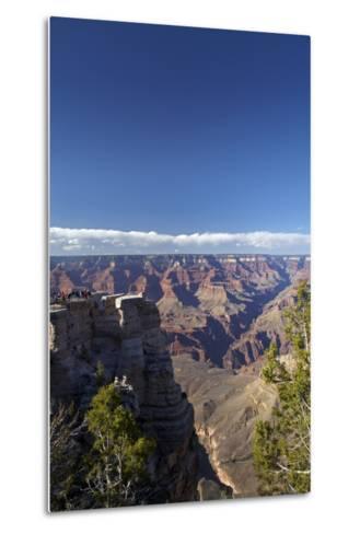 Arizona, Grand Canyon National Park, Grand Canyon and Tourists at Mather Point-David Wall-Metal Print