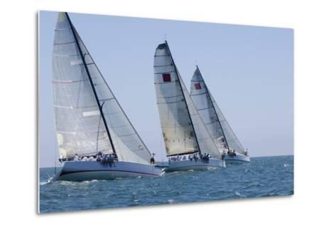 Three Yachts Compete in Team Sailing Event, California--Metal Print