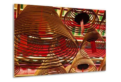 China, Hong Kong, Spiral Incense Sticks at Man Mo Temple-Terry Eggers-Metal Print