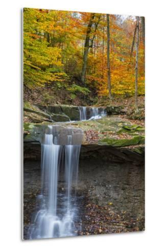 Blue Hens Falls in Autumn in Cuyahoga National Park, Ohio, USA-Chuck Haney-Metal Print