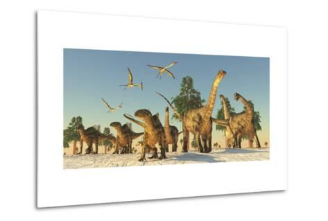 Tenontosaurus and Argentinosaurus Dinosaurs Migrating in Search of Water-Stocktrek Images-Metal Print