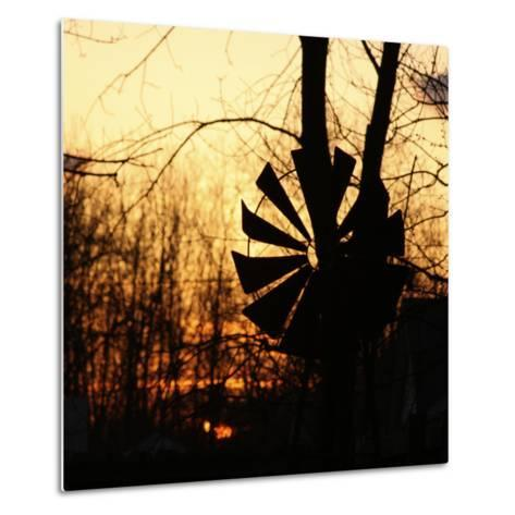 Windmill Silhouette Against Bare Branches and Sunset Sky-Anna Miller-Metal Print