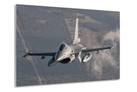 Chilean Air Force F-16 in the Air over Brazil-Stocktrek Images-Metal Print