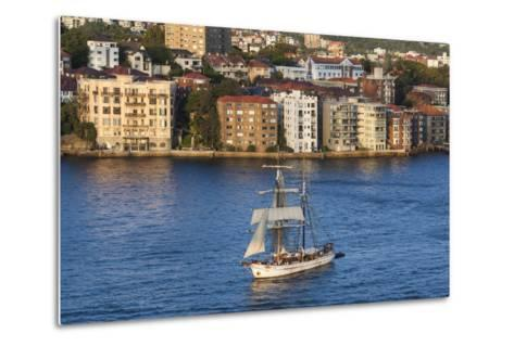 Australia, Sydney Harbor, Elevated View of Sailing Ship-Walter Bibikow-Metal Print