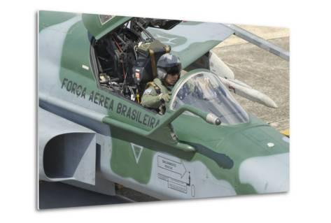 A Pilot Sitting in the Cockpit of a Brazilian Air Force F-5 Aircraft-Stocktrek Images-Metal Print