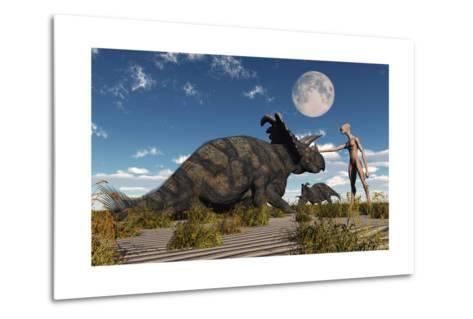 A Reptoid Using Telepathy to Communicate with a Albertaceratops Dinosaur-Stocktrek Images-Metal Print