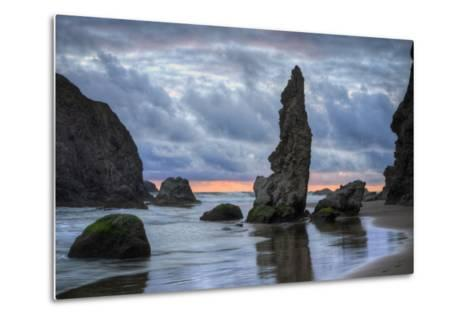 Moody Seascape at Bandon Beach, Oregon Coast--Metal Print