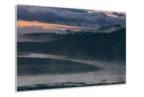 Misty Foggy Morning at Yellowstone River Bend--Metal Print