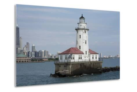 Illinois, Chicago, Lake Michigan. Chicago Harbor Light with Skyline-Cindy Miller Hopkins-Metal Print