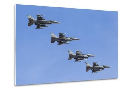 Four U.S. Air Force F-16C Fighting Falcons in Echelon Formation-Stocktrek Images-Metal Print