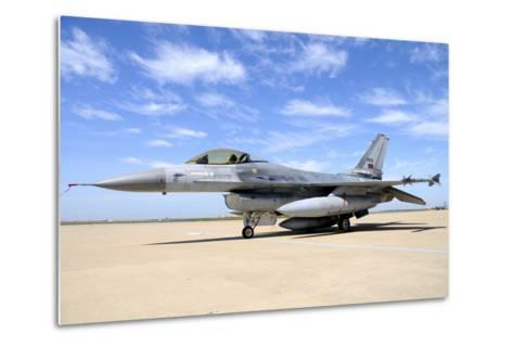 F-16A Falcon from the Portuguese Air Force at Moron Air Base, Spain-Stocktrek Images-Metal Print