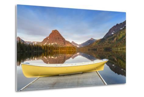 Boat on Calm Morning at Two Medicine Lake in Glacier National Park, Montana-Chuck Haney-Metal Print