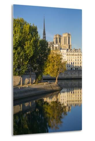 River Seine with Cathedral Notre Dame Beyond, Paris, France-Brian Jannsen-Metal Print