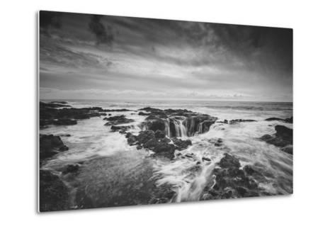 Seascape at Thor's Well in Black and White, Oregon Coast--Metal Print