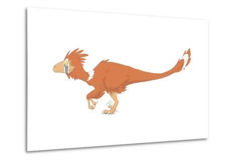 Deinonychus Pencil Drawing with Digital Color-Stocktrek Images-Metal Print