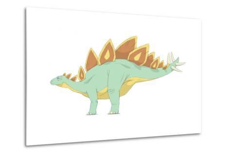 Stegosaurus Pencil Drawing with Digital Color-Stocktrek Images-Metal Print