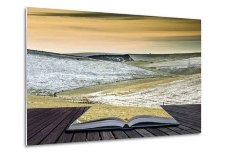 Creative Concept Idea of Winter Landscape Coming out of Pages in Magical Book-Veneratio-Metal Print