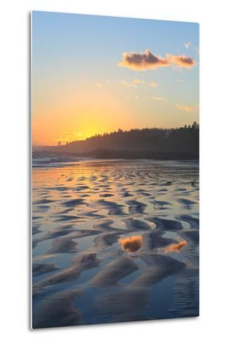 Sunset Colors Reflect onto Maine's Higgins Beach in Wintertime-Robbie George-Metal Print