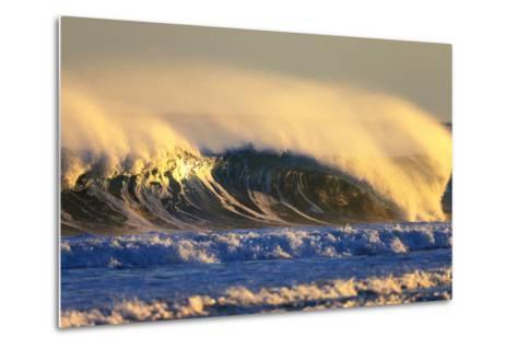 Late Afternoon Light Illuminates a Winter Wave Off the Coast of Maine-Robbie George-Metal Print