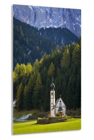 Saint Johann Church Below the Geisler Spitzen, Val Di Funes, Italy-Brian Jannsen-Metal Print