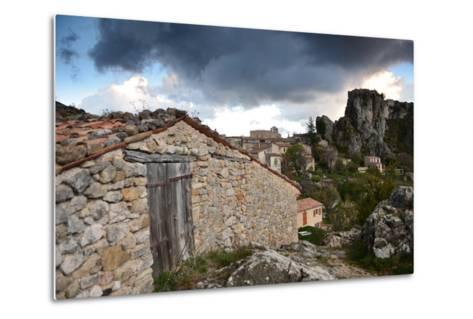 Stone Buildings Beneath Dark Clouds Near Verdon Gorge-Keith Ladzinski-Metal Print