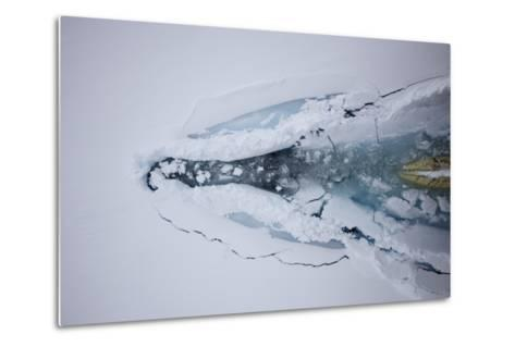The Bow of a Cruise Ship Plows Through Pack Ice-Jim Richardson-Metal Print