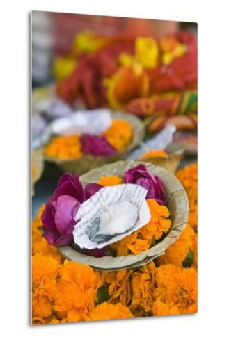 Flowers and Candle to Be Released during Ganga Aarti Ceremony-Jon Hicks-Metal Print